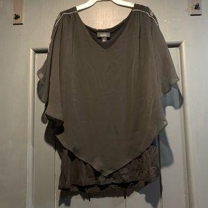 Alyx Womens Black Sheer Short Sleeve Dolman Top